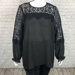 City Chic Black Sheer Lace Trim Top Plus Size 24
